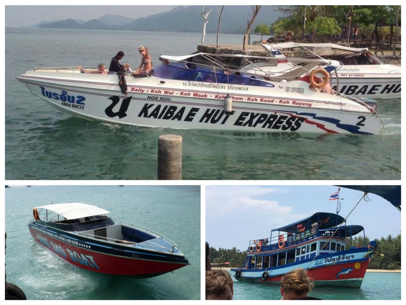 Speedboat and wooden boats from koh Chang to Koh Mak and Koh Kood